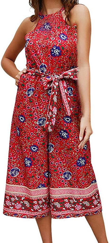 Jumpsuits for Women Vovotrade Ladies Summer Fashion Sleeveless Beach Camisole Printed Rompers