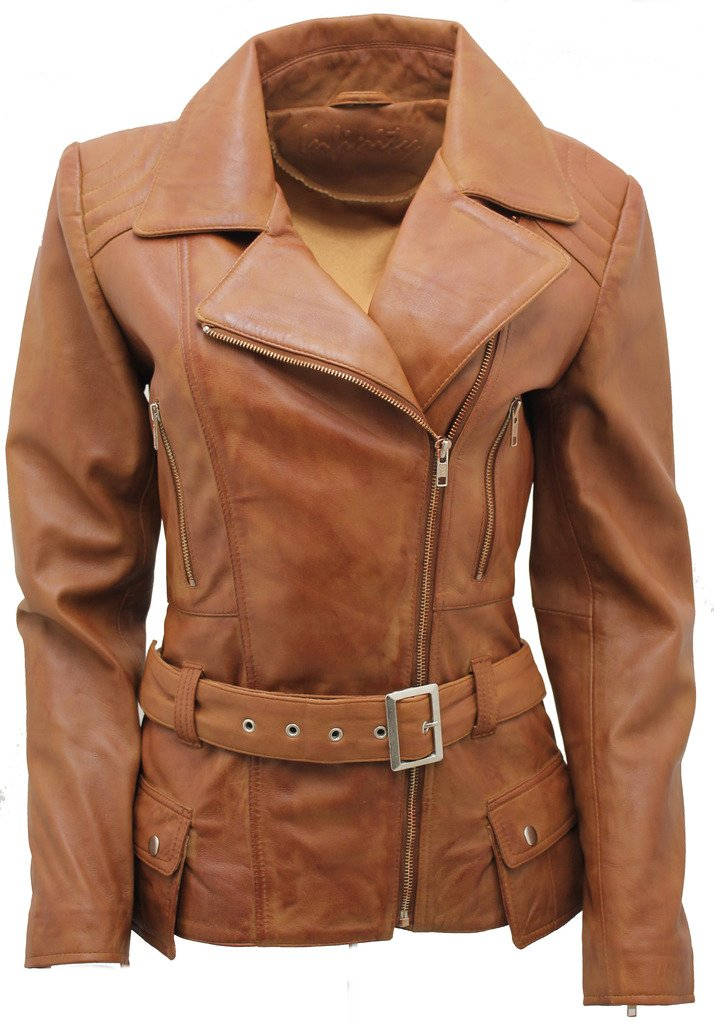 Ladies Tan Long Feminine Leather Biker Jacket 16 by Infinity