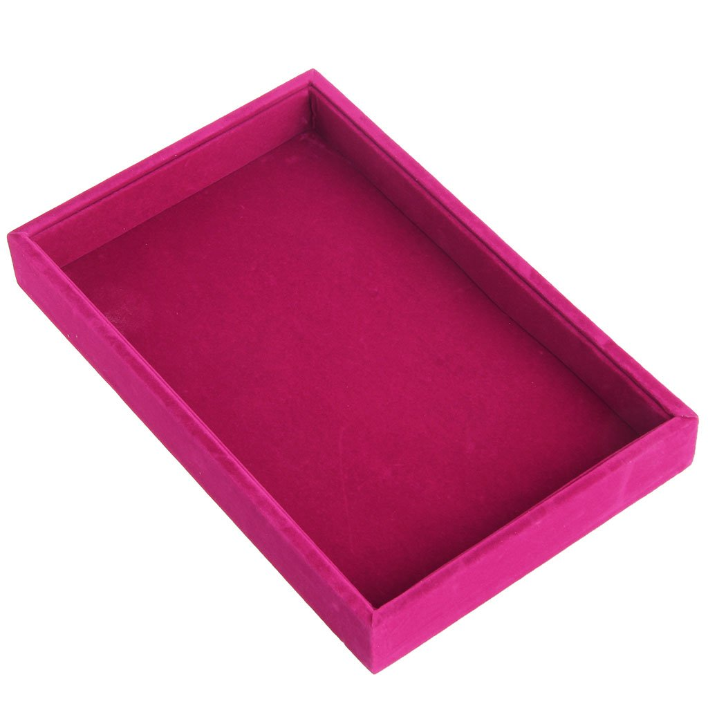Susada Jewelry Trays Stackable Inserts Velvet Catch All Jewelry Display Tray Case Hot Pink