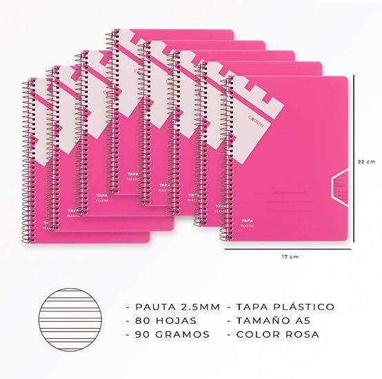 Casterli - Pack 8 Libretas Con Espiral, Tapa Plástico, Tamaño A5 ...