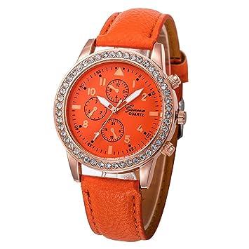 Relojes Pulsera Mujer, Xinan Relojes de Cuarzo de Cuero de Moda Banda Analógica (Naranja): Amazon.es: Deportes y aire libre