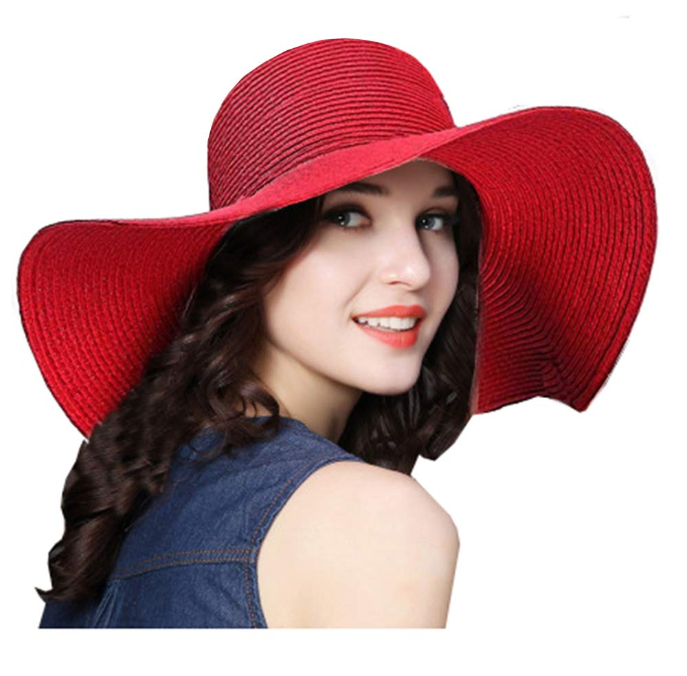 ZZCC Beach Summer Wide Sun Foldable Hat for Women Red