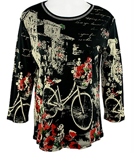 Jess & Jane Cotton Top 3/4 Sleeve Scoop Neck Rhinestone Accent - Floral (Jane Cotton Printed Top)