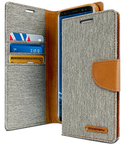GOOSPERY Galaxy S9 Plus Case for Samsung Galaxy S9+, [Drop Protection] Canvas Diary [Denim Material] Wallet Case [ID Card/Cash Slot] Stand Flip Cover TPU Casing (Gray & Brown) S9P-CAN-Gry