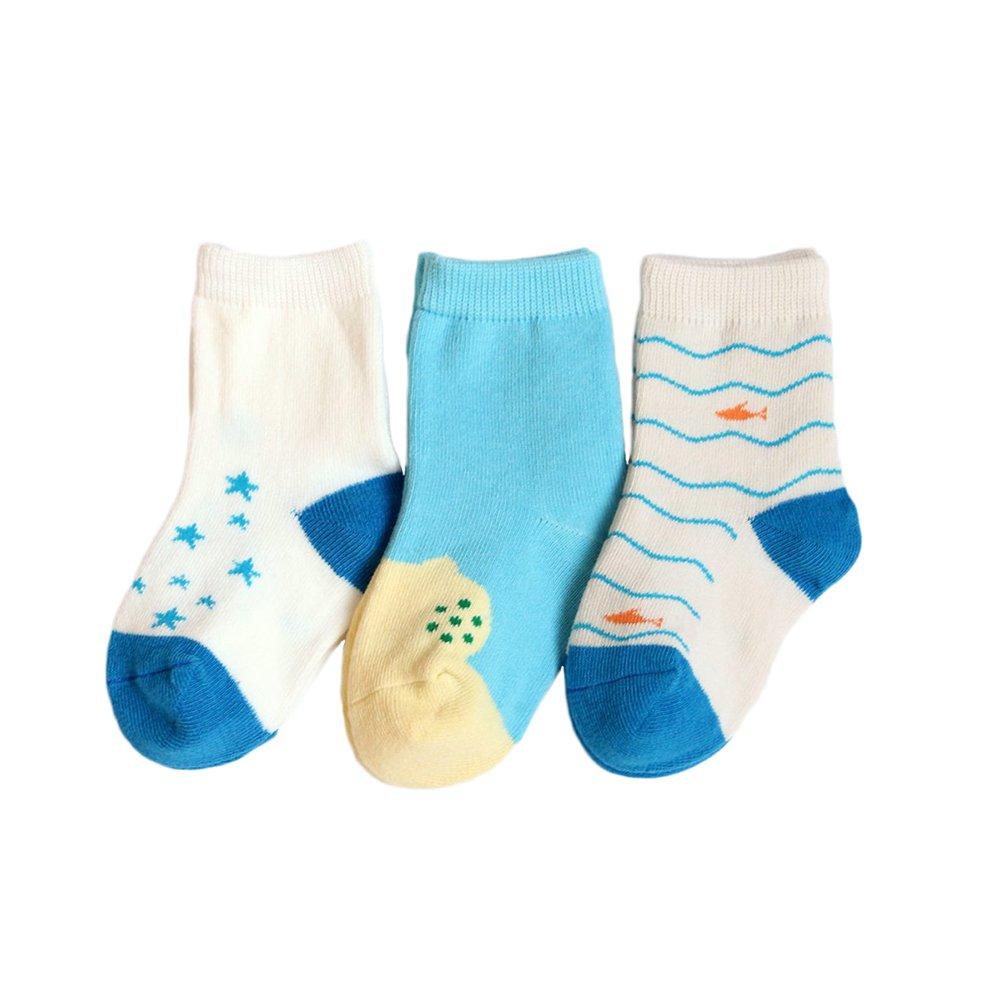 Monbedos 3 Paires Chaussettes pour Enfants Chaussettes Coton Hiver Chaude Chaussette