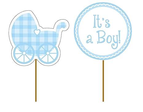 Reegen 12 De Cupcake Toppers * Baby Boy * para el Primer cumpleaños o la decoración