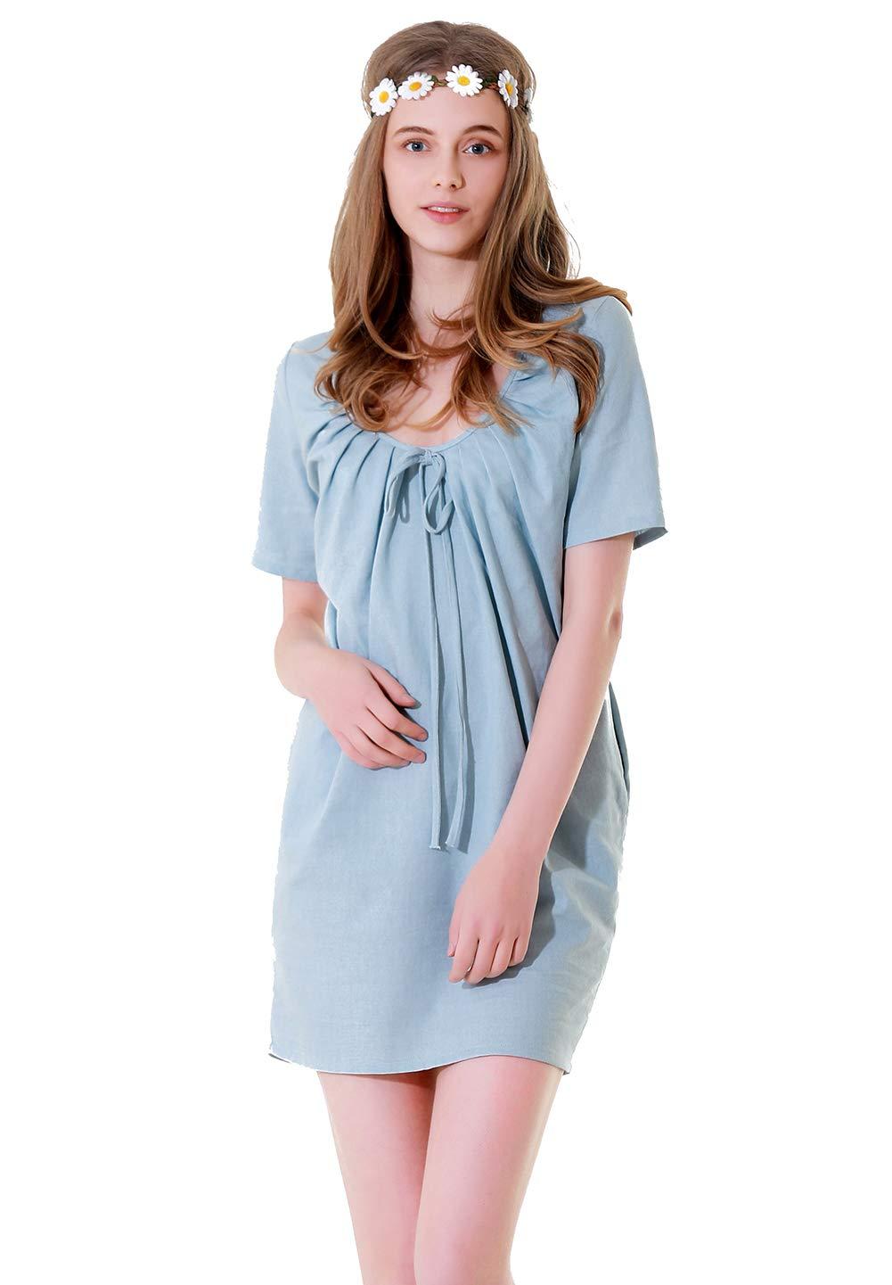 Nueva Falda de Mujer, Vestido de algodón y Lino de Verano Azul ...