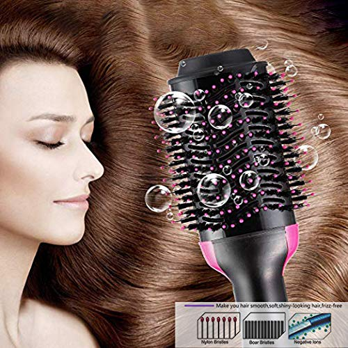 Hot Air Brush,Sabuy One Step Hair Dryer Styler Volumizer, 3-IN-1 Hair Dryer Brush Styler for Straightening, Curling, Salon Negative Ion Ceramic Electric Blow Dryer Rotating Straightener Curl Brush