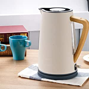 304 Stainless Steel 1.7 Liter Large Capacity Electric Kettle, 1850W, 220V Voltage, Automatic Power Off, Temperature,Gray