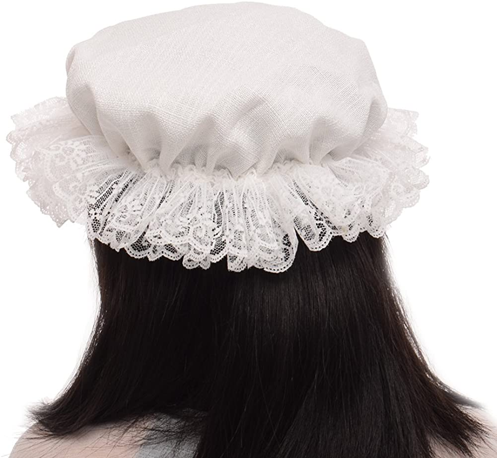 BLESSUME White Womens Mob Cap Colonial Mob Hat Costume Accessory