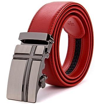 Zhenz diseño de la Marca de Lujo Cinturones Mujeres Hombres Cinturones  Rojos Correa de la Cintura Masculina Hebilla automática cinturón de Cuero  Genuino f93dea136133
