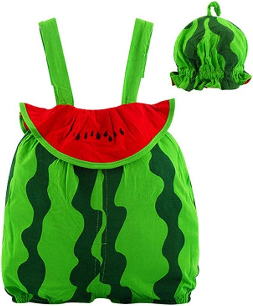 LABIUO Neugeborene Kleidung,Baby Junge Obst Overall Baby Baumwolle Spielanzug Overall Hut Bodysuit Outfit Sommer Armellos Kleidung