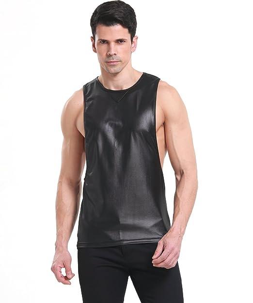 f6c4a8c0 Amazon.com: Uabrav Mens Bodybuilding Vest Muscle Sport Gym Faux Leather  Fitness Tank top T-Shirt: Clothing