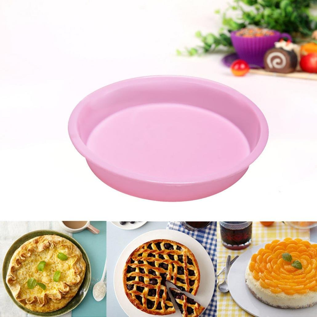Cake Mold,Lovewe Round Silicone Cake Mold Pan Muffin Candy Bread Pizza Baking BakewareTray Baking Pan(Random Color)