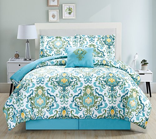 Mk Home Collection 5 pc Comforter set Light Blue Green New #75 (King)