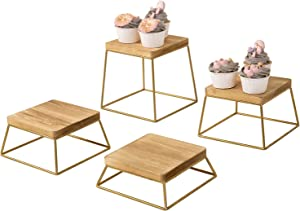 MyGift Burnt Wood & Gold Metal Wire Square Retail Food Display Risers/Pizza Stands, Set of 4