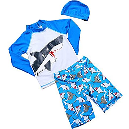 67eab10304 Baby Boys Kids Long Sleeve UV Sun Protection Rash Guards Swimsuit with  Hat(Blue,