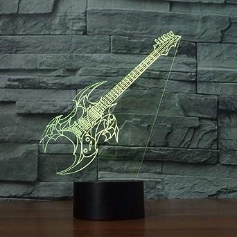 SHNDYW Luz de noche Guitarra eléctrica 3D Lámpara de mesa Dormitorio LED Oficina Música Decoración para