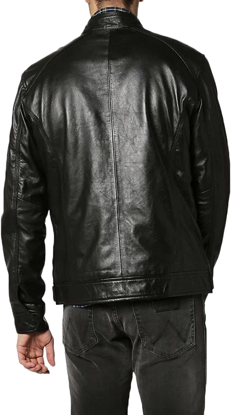 New Men Designer Genuine Lambskin Soft Biker Leather Jacket N1218