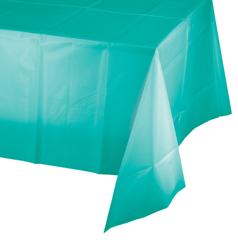 Creative Converting 324789 Touch of Color 12 Count Plastic Table Covers, Teal Lagoon