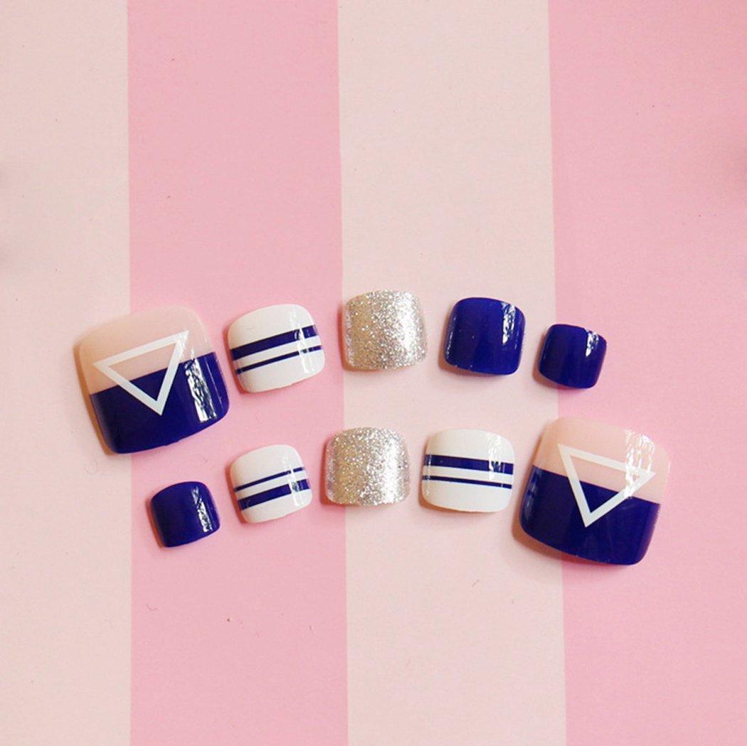 jovono 24pcs falsas uñas de los dedos falsos consejos de uñas de los pies Full Cover para las mujeres y las niñas (azul): Amazon.es: Belleza