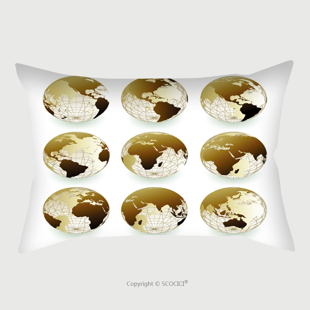 Custom Satin Pillowcase Protector Vector Set Of World Icons 11561554 Pillow Case Covers Decorative