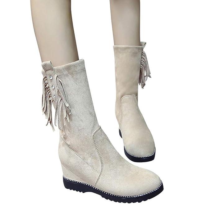 JiaMeng Botas de Goma Mujer Cuñas Borlas Botines Medio Tubo Botines Botas Zapatos Slip-On