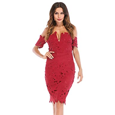 fc5d417200 Amazon.com: Lace Bodycon Red Wine Tube Top Dress V-Neck Halter Off ...