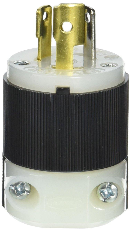Hubbell HBL4720C Locking Plug, 15 amp, 125V, L5-15P, Black/White