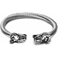 DBG Mens Viking Punk Bracelets, Dragon Stainless Steel Twisted Cable Adjustable Open Cuff Bangle Silver (Silver) …