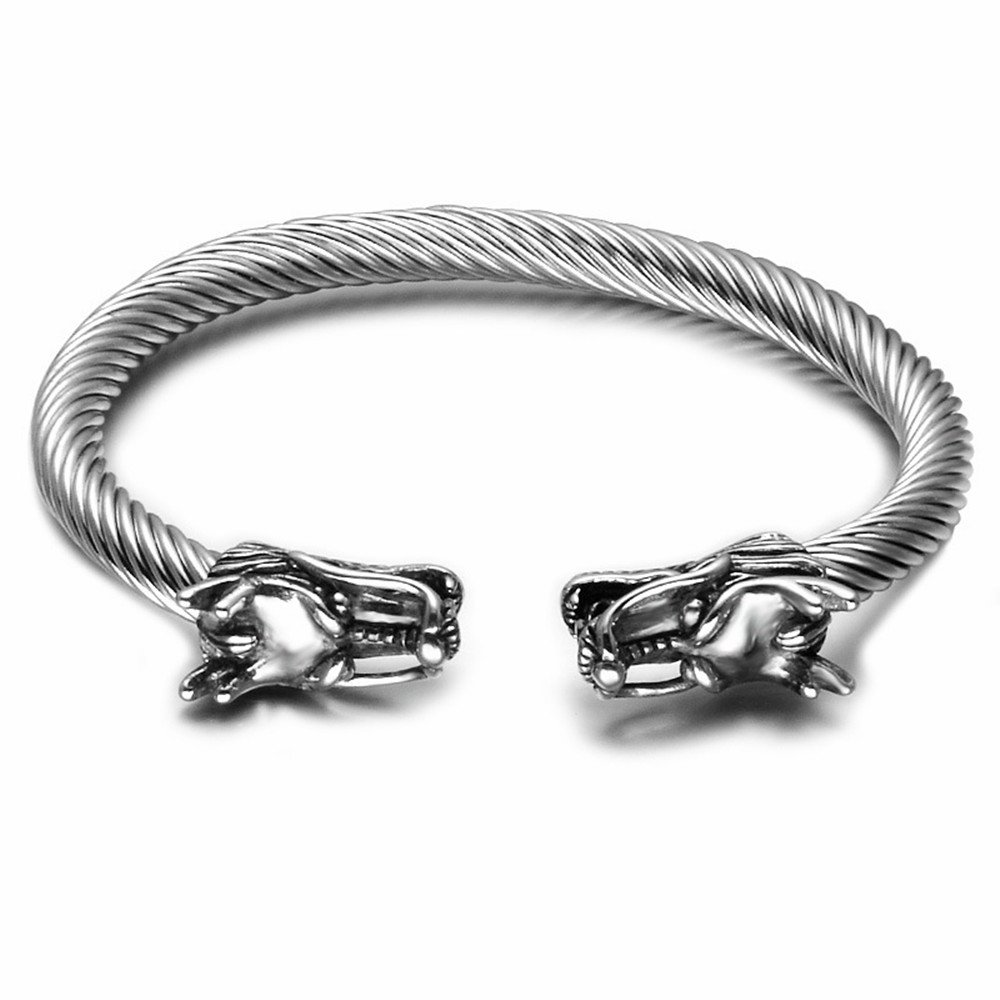 DBG Mens Viking Punk Bracelets, Dragon Stainless Steel Twisted Cable Adjustable Open Cuff Bangle Silver (Silver) … dbgjs002
