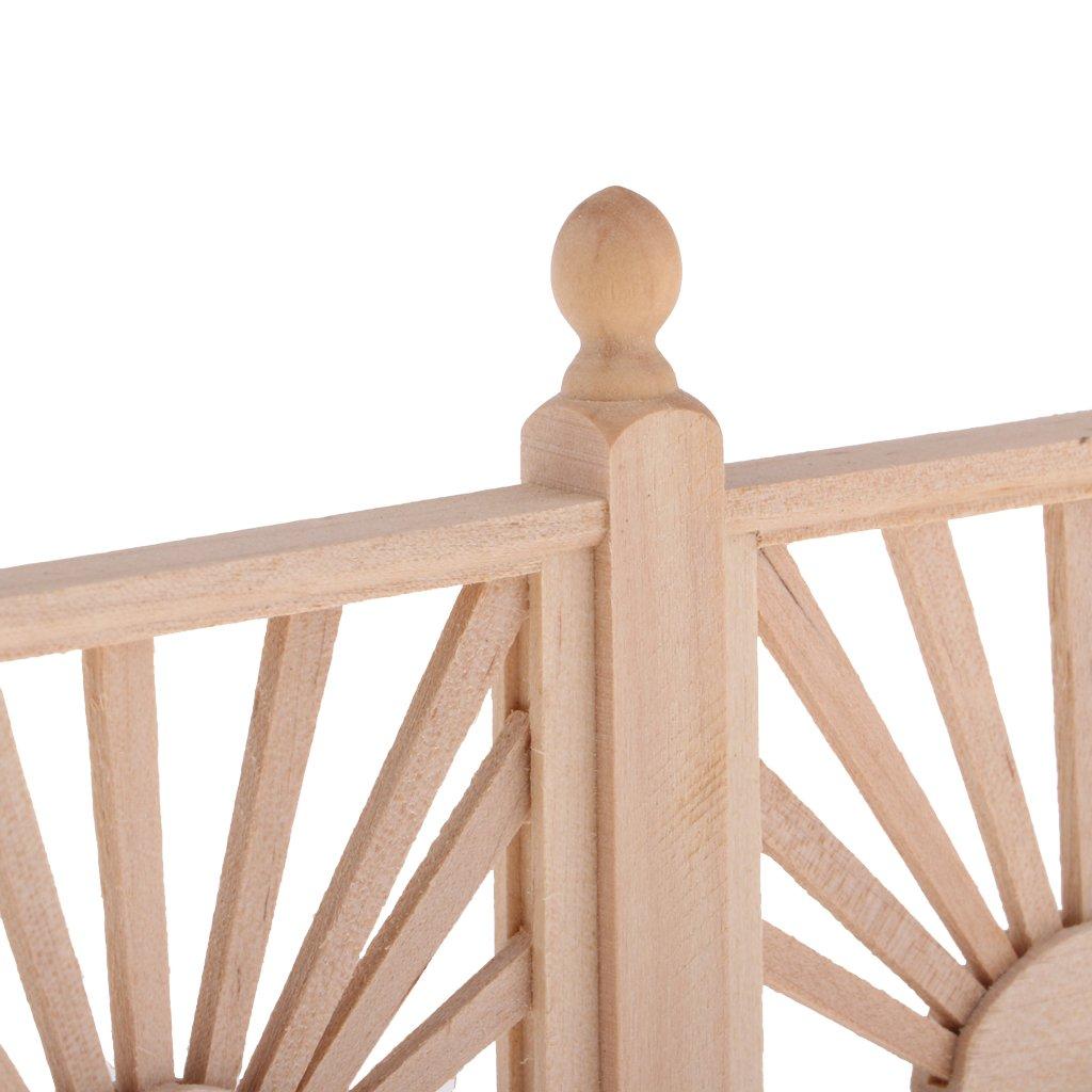 Baoblaze 2 Pedazos Modelo de Barrera de Madera Valla de Jard/ín Juguete Bricolaje Adornos para 1//12 Casa Mu/ñeca