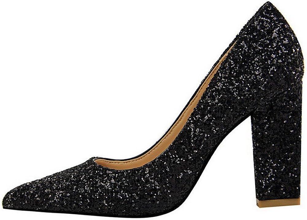 AalarDom Femme Tissu à Paillette Couleur Unie Tire Chaussures Légeres Noir