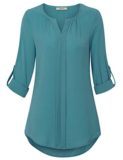 Bebonnie Women S Casual Front Pleated Chiffon Blouse Ladies Cuffed