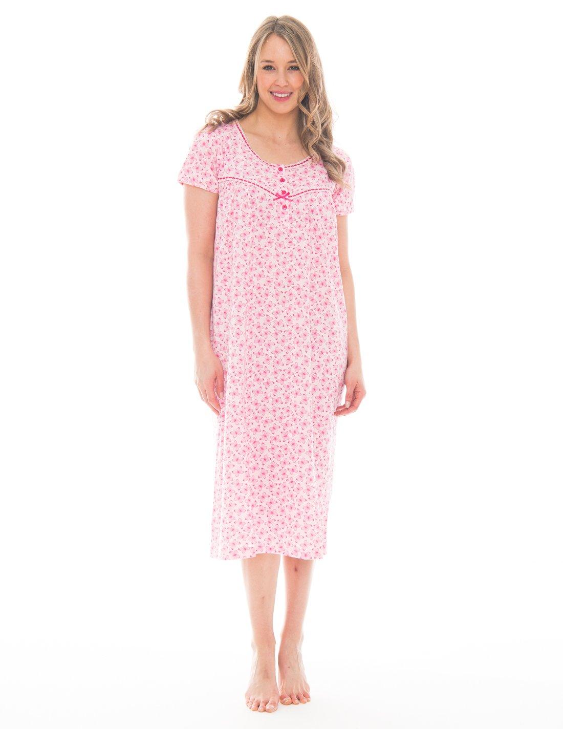Pink Lady Womens Full Length Sleep Dress Loungewear (Barley Pink Butterfly, X-Large)