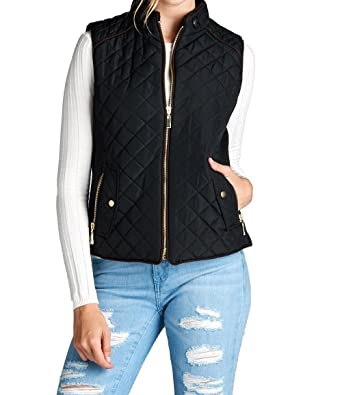 Hollywood Star Fashion Women s Quilted Vest Jacket Coat Sleeveless ... fdc30612d3