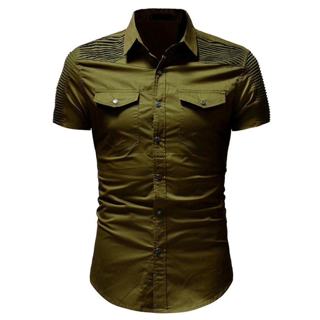 Mens Slim Fit Button Shirt with Pocket Short Sleeve Casual Tops Blouse General3 Men Shirts