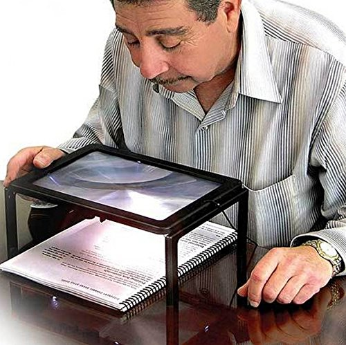 Buwico Hands Free Full Page Desktop Magnifier with 4 LED Lighting 3x Desktop Loupe LED Lights for Old People Reading Jewelry Loupe Magnifier