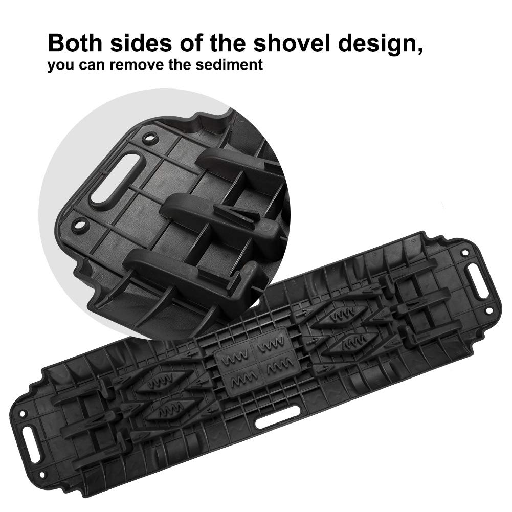LITEWAY Recovery Traction Tracks with Jack Lift Base 2 Pcs Traction Mat for Sand Mud Snow Track Tire Ladder 4X4 Traction Boards