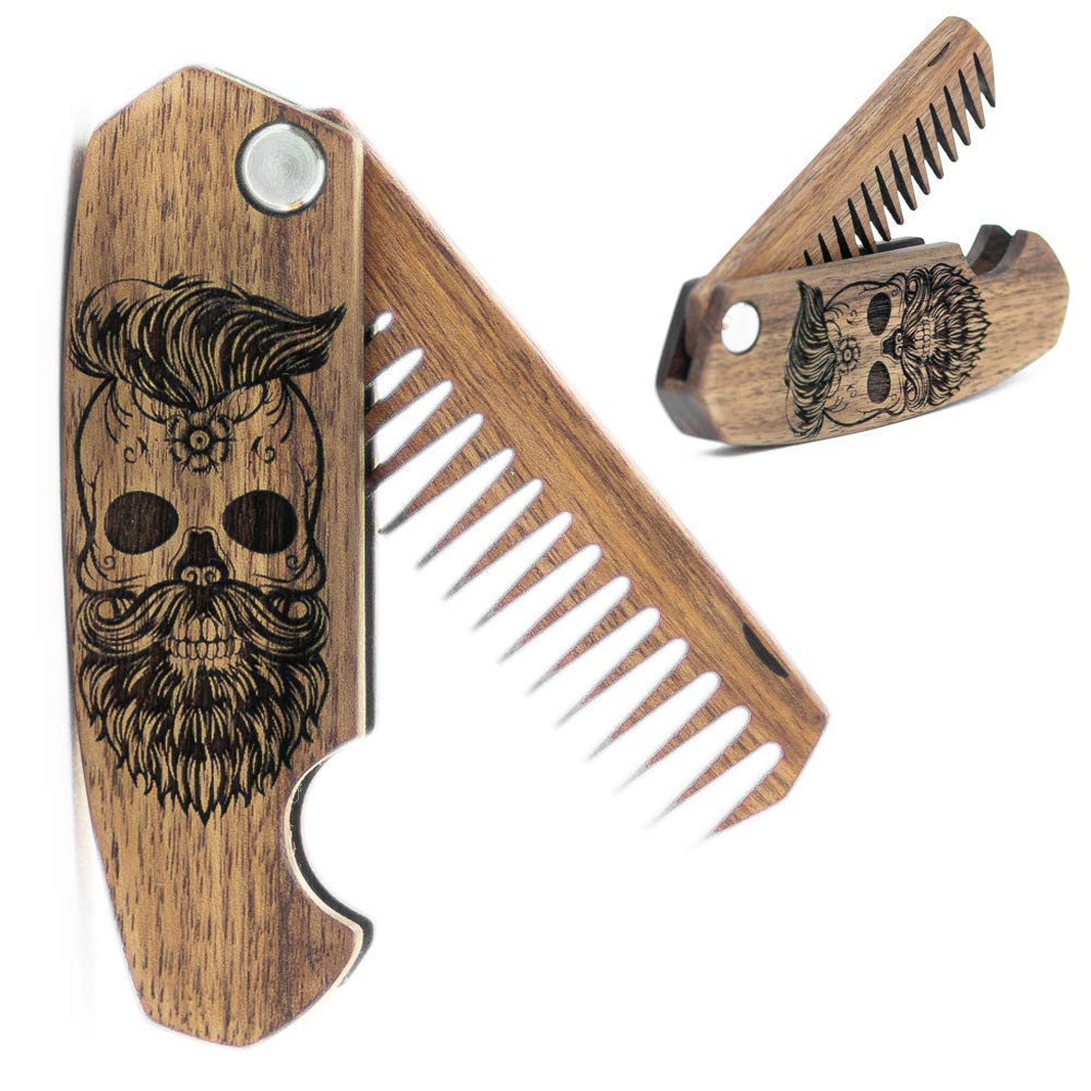B06XDML2HR Beard Comb for Men - Pocket Folding Combs for Mustache & Hair. Travel, Natural Wooden Comb with Skull Engraving - Perfect for Use w/Beard Balm, Oil 61QVtTPzo1L