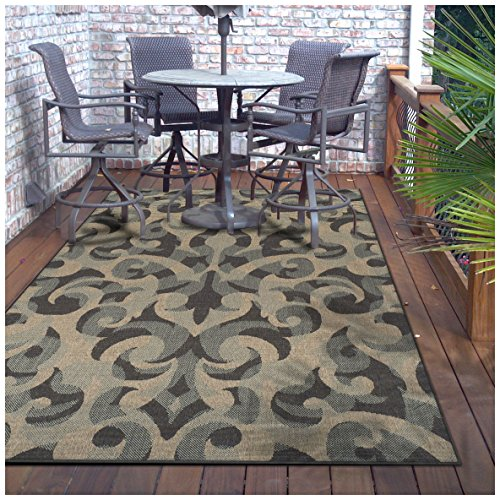 Superior Aldaine Collection 2' x 3' Indoor/Outdoor Area Rug with Jute Backing, Durable Woven Structure, Textured Grey, Beige, and Teal Damask Pattern
