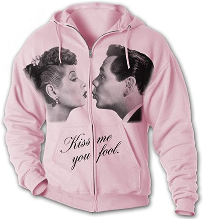 I Love Lucy KISS Adult Full Zip Hoody Sweatshirt