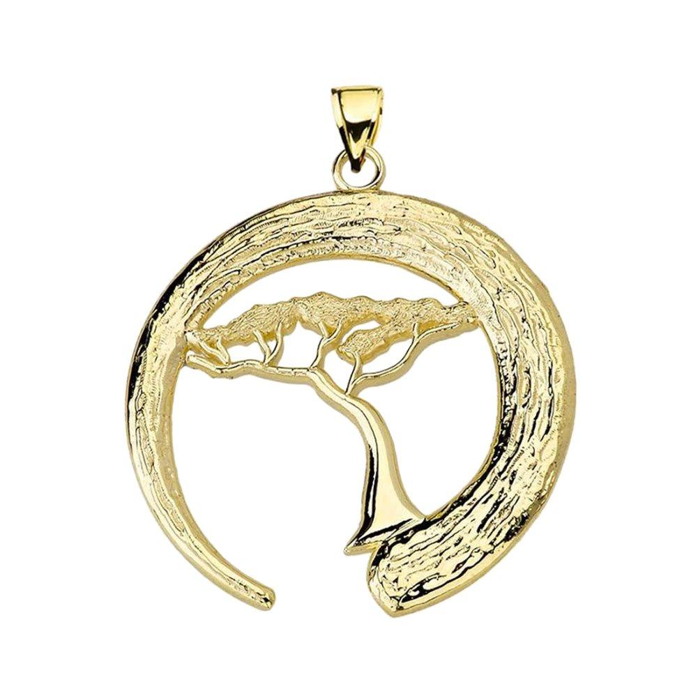 Fine 14k Yellow Gold Japanese Buddhist Zen Circle with Bonsai Tree Pendant