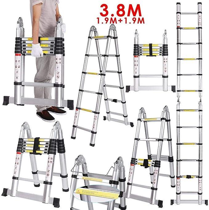 Escalera Telescópica de Aluminio 3.8 Metros 1.9M+1.9M 16 Peldaños Carga de 150 KG: Amazon.es: Bricolaje y herramientas