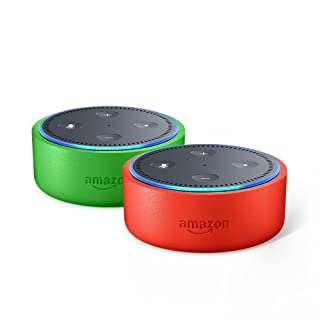 Echo Dot Kids Edition 2-Pack: Punch Red/Green kid-friendly case