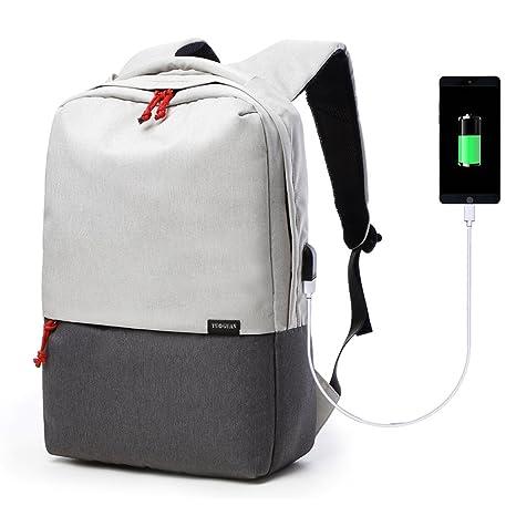 Ordenador De 17 Pulgadas Mochila USB PC para Viaje Escuela Portatil Negocios Trabajo Bolso (Beige
