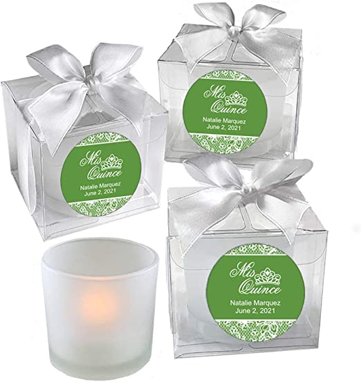 Personalised Votive Candle Wedding Favours In Organza Bags Set 50 or 70