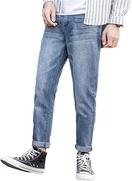 [ジンニュウ] メンズ ジーンズ デニムパンツ ロングパンツ 春秋冬 スキニーパンツ 九分丈 カジュアル シンプル 大きいサイズ