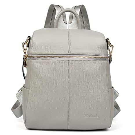 a97718d3c Image Unavailable. Image not available for. Colour: BOSTANTEN Women Leather  Backpack Purse Satchel Shoulder School Bags for College LightGray