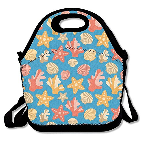 GoldBaoWang Starfish Corals Scallops Shells Neoprene Lunch Picnic Bag Insulated Lunch Box Waterproof Lunch Tote with Zipper Strap for Women Kids Boys Girls and Men